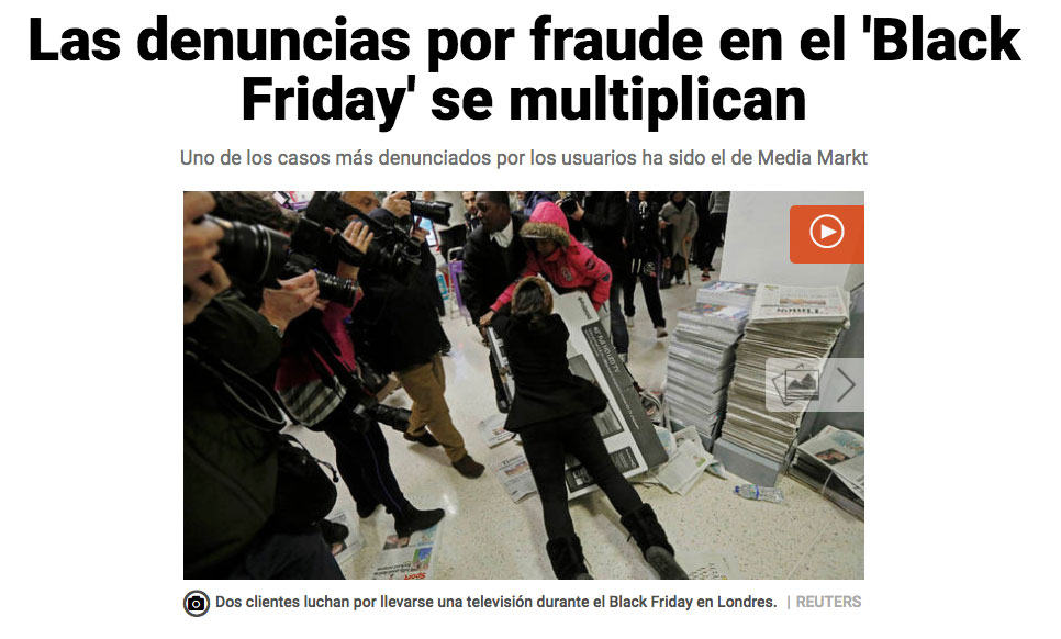 Noticia sobre los fraudes durante el Black Friday