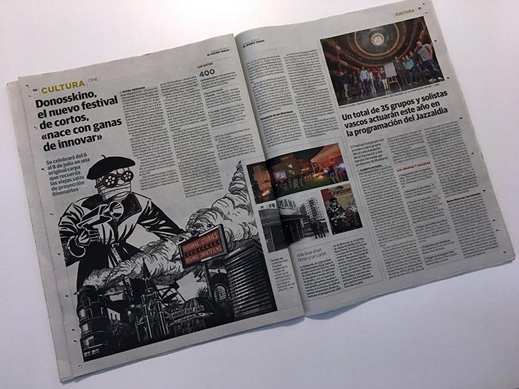 El festival de cortos organizado por Kristonkino en las páginas del periódico El Diario Vasco.