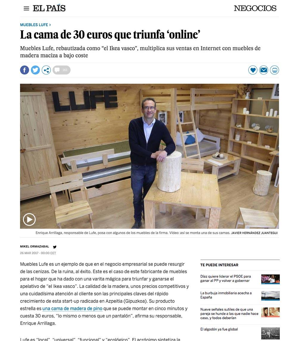 Artículo del periódico El País hablando sobre Muebles LUFE