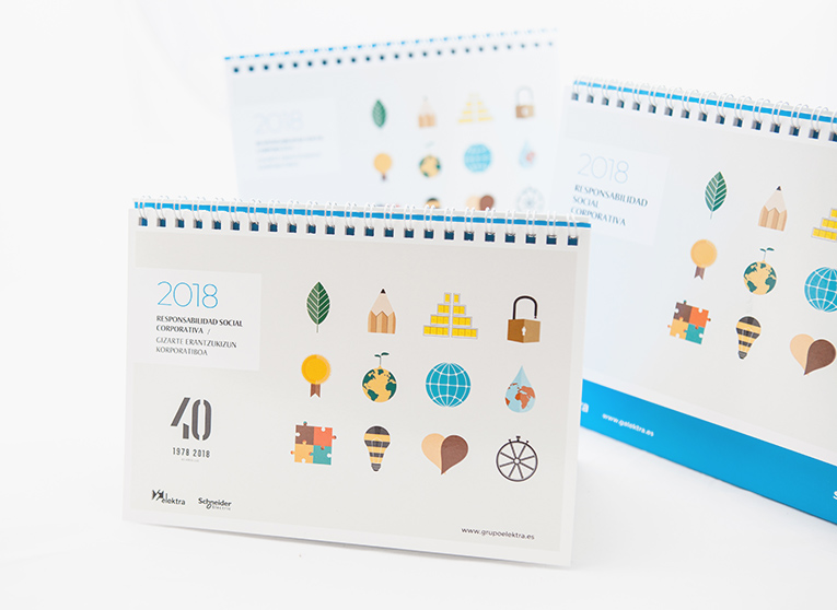diseño de calendarios personalizados 2018 diseñado para Grupo Elektra por la agencia de comunicación Lombok Design