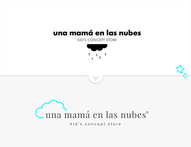 rediseño de logotipo planteado para la shop online una mamá en las nubes