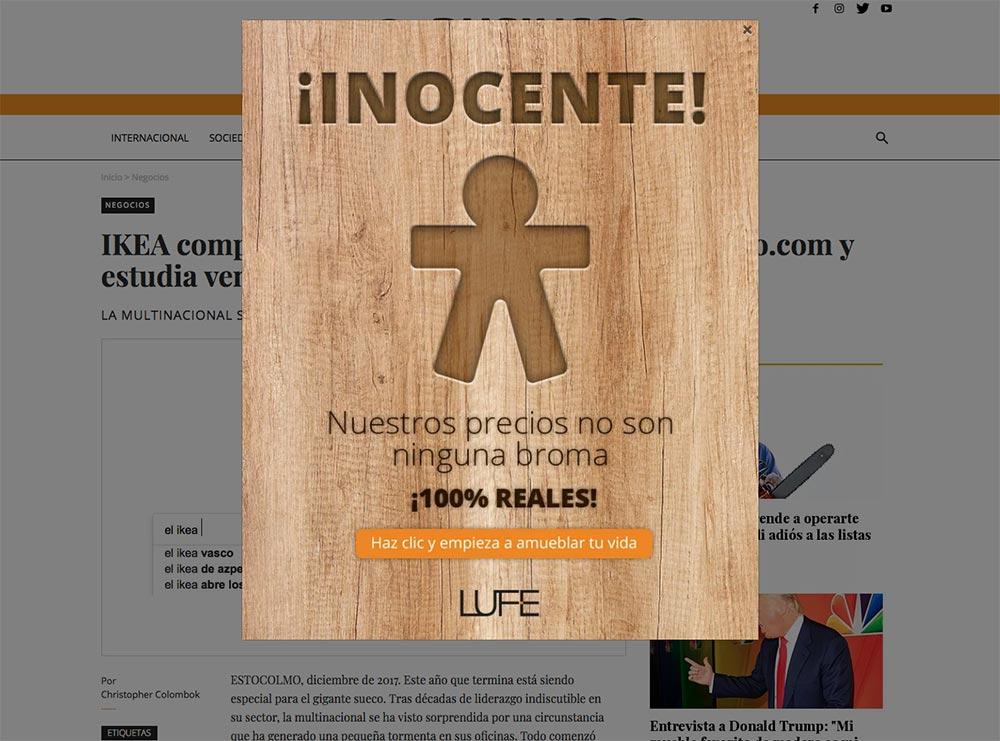 """Cartel de inocentada """"inocente"""" en la página web"""