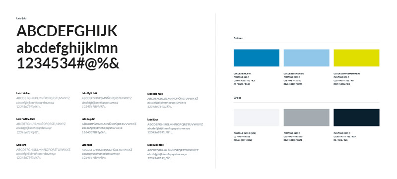 Colores corporativos y tipografías corporativas para la nueva identidad de Ufishpro