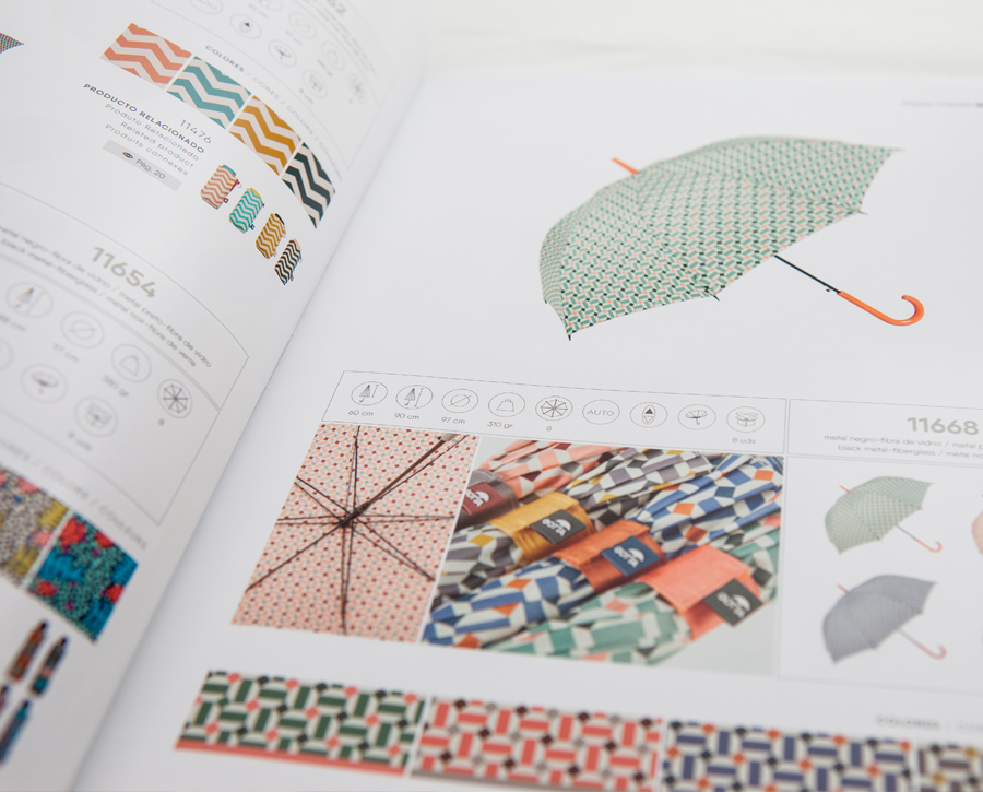 Paraguas coloridos. Catálogo de paraguas Ezpeleta diseñado por Lombok.