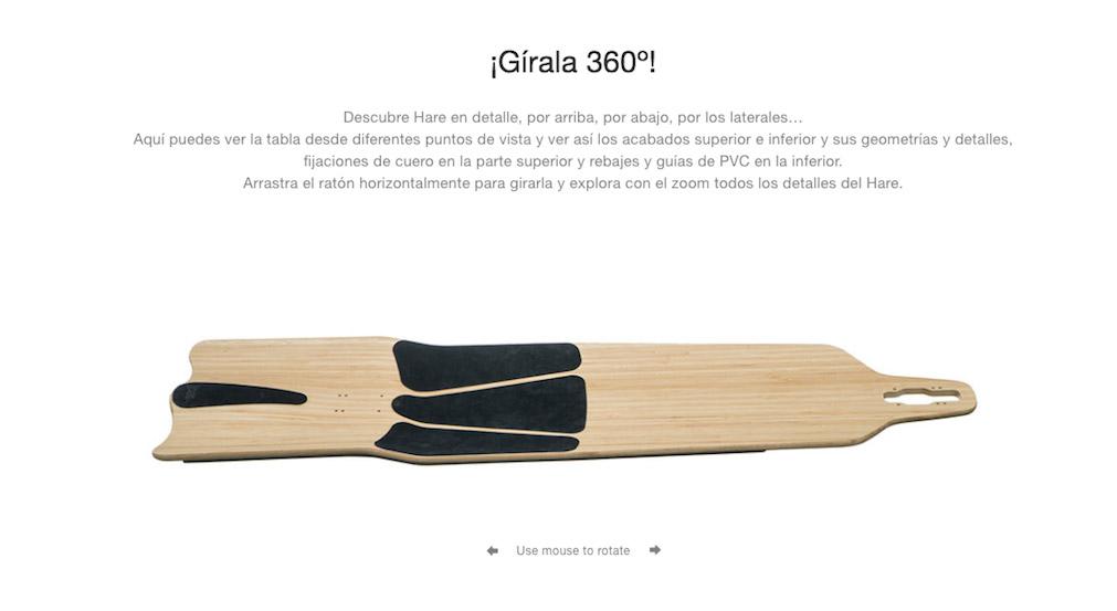 fotos 360 grados de productos, tablas de longboard