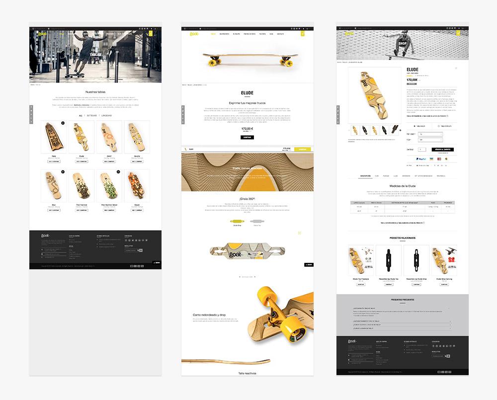 programación de las páginas de la web de la tienda online desarrollada para goatlongboards