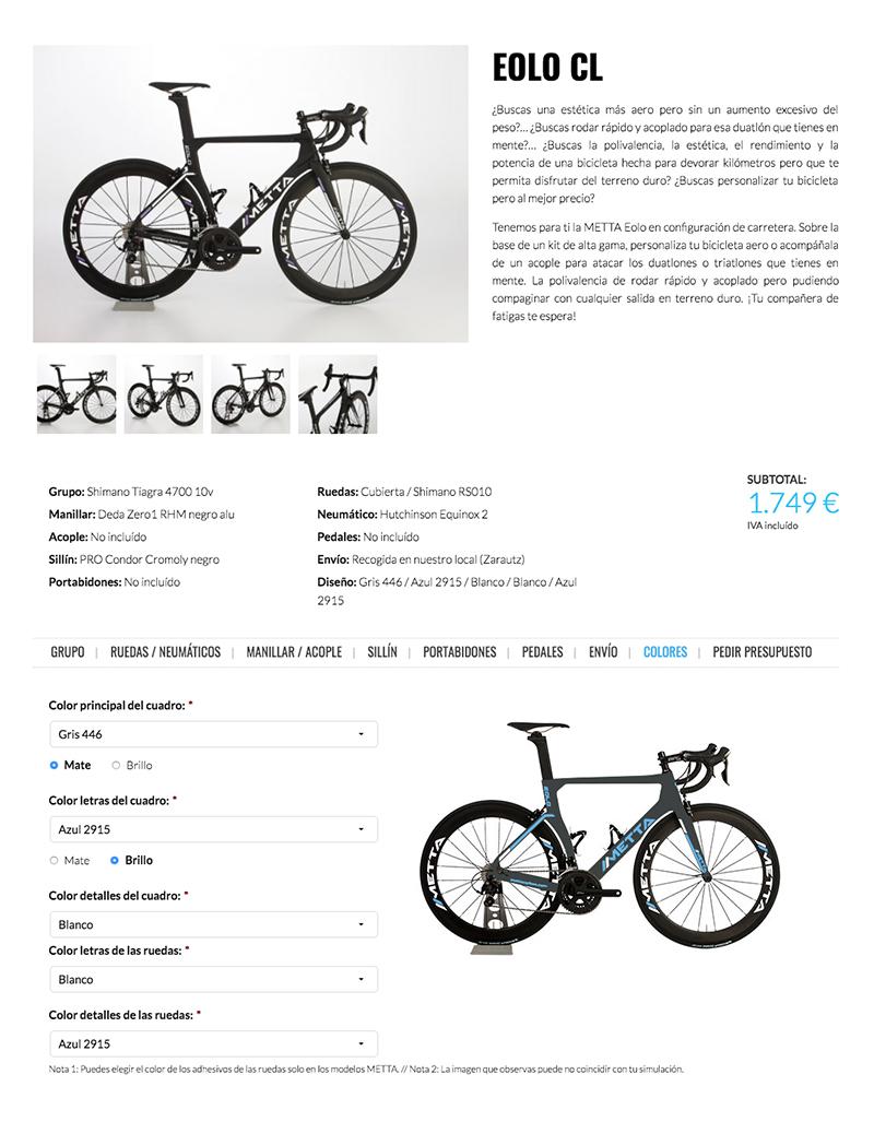 Mettacarbon. Diseña tu propia bici con el configurador diseñado por Lombok.