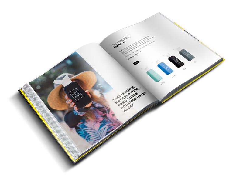 Diseño de catálogo de Nuoc. Botellas de cristal sostenibles